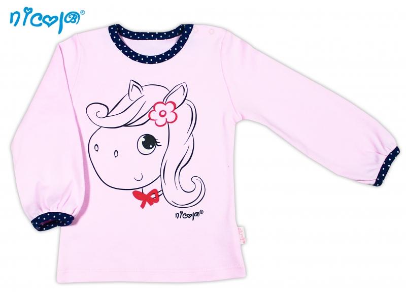 Bavlněné tričko NICOL LOVELY PONY dlouhý rukáv - Pony v růžovém, Velikost: 80 (9-12m)