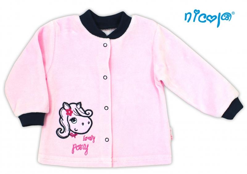 Košilka velurová LOVELY PONY - růžová, Velikost: 80 (9-12m)