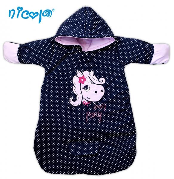 Bavlněný spací vak s kapucí LOVELY PONY - tm. modrý/puntík