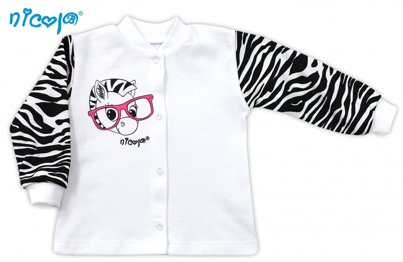 Bavlněná košilka NICOL ZEBRA - bílá/černobílý rukáv, Velikost: 62 (2-3m)