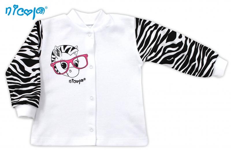 Bavlněná košilka NICOL ZEBRA - bílá/černobílý rukáv, Velikost: 68 (4-6m)