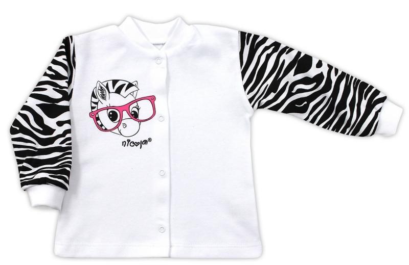 Bavlněná košilka NICOL ZEBRA - bílá/černobílý rukáv, Velikost: 74 (6-9m)