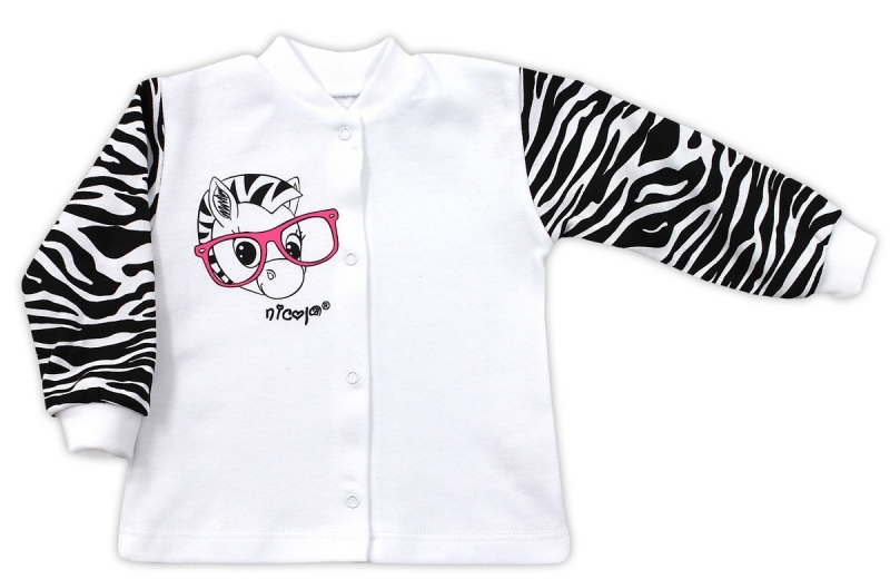 Bavlněná košilka NICOL ZEBRA - bílá/černobílý rukáv, Velikost: 80 (9-12m)