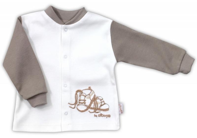 Bavlněná košilka NICOL STEP BY STEP - BOTIČKY v bílo/hnědé, Velikost: 74 (6-9m)
