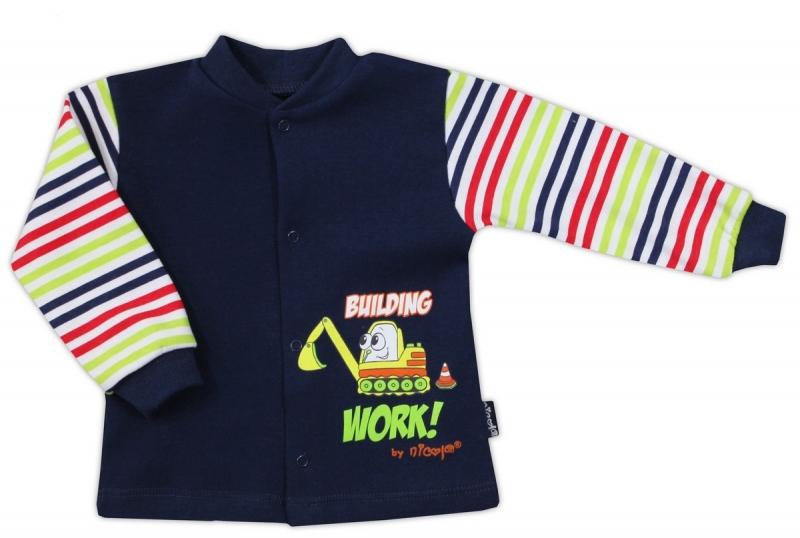 Bavlněná košilka NICOL BAGR - tm. modrá/barevný proužek, Velikost: 80 (9-12m)