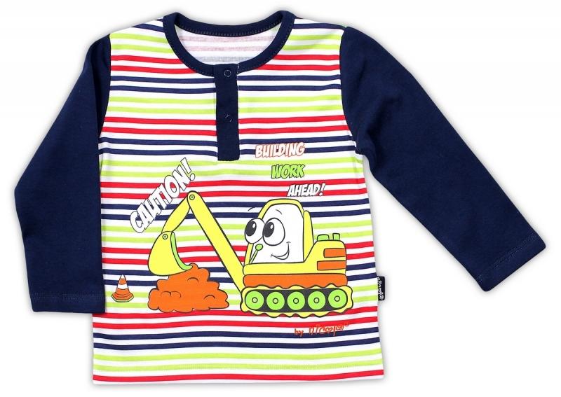 Bavlněné tričko NICOL BAGR dlouhý rukáv - tm. modré/barevný proužek