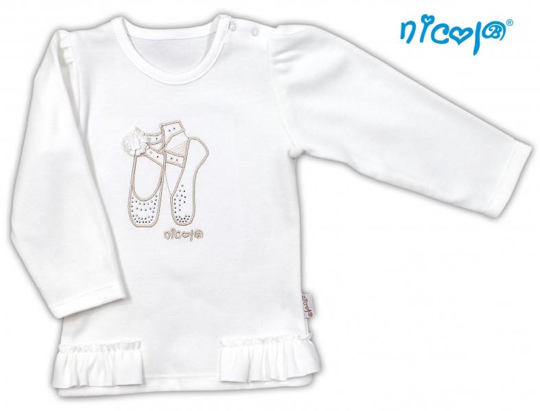 Bavlněné tričko/halenka NICOL BALETKA dlouhý rukáv - smetanová, Velikost: 86 (12-18m)