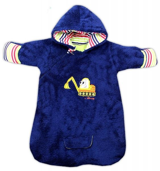 Chlupáčkový spací vak s kapucí BAGR - tm. modrý, Velikost: 56 (1-2m)