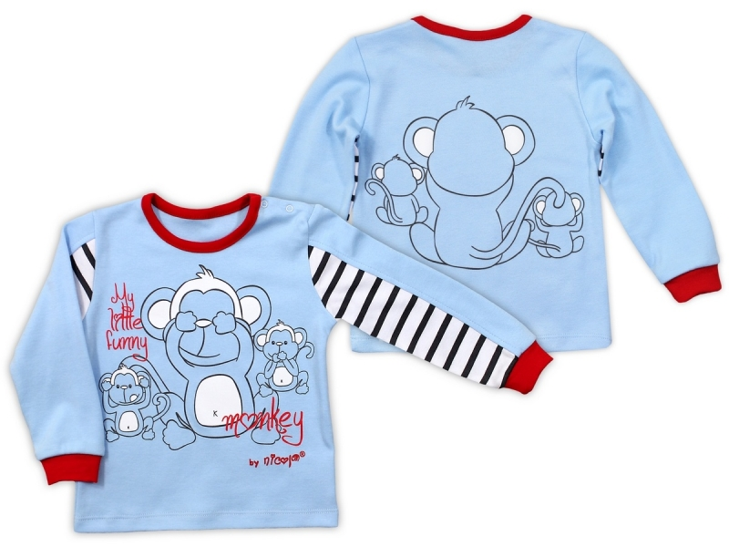 Bavlněné tričko NICOL MONKEY dlouhý rukáv - sv. modrá v.104