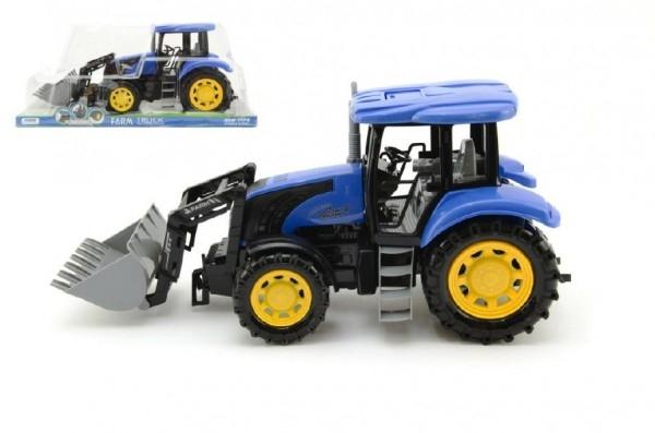 Modrý traktor s radlicí plast 42cm na setrvačník v krabičce - 1 ks