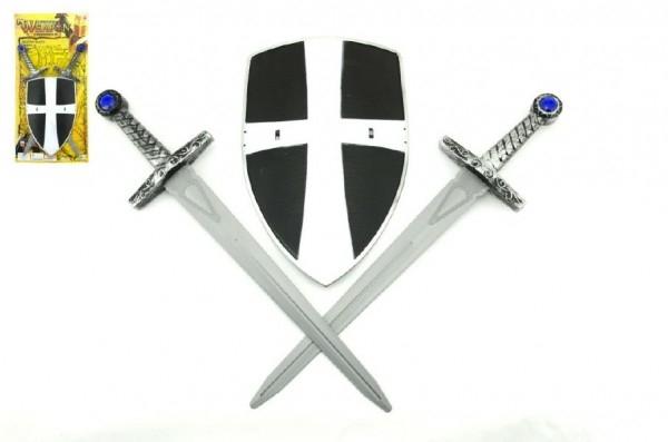 Rytířská sada 2 meče a štít plast 49cm na kartě