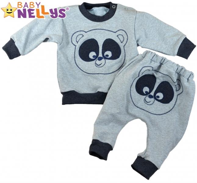 1685ba12601 Tepláková souprava Baby Nellys ® - Medvídek - šedý melír granatový ...