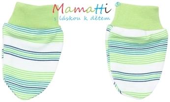 Kojenecké rukavičky Mamatti - FROG - zelené proužky