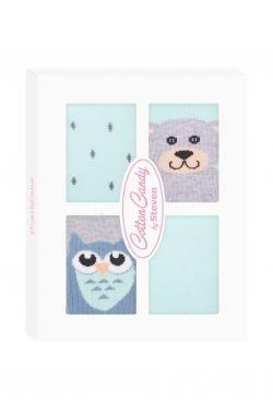 Kojenecké ponožtičky CANDY BOX - Sovička a medvídek - zelené