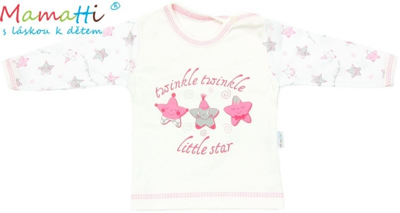 Tričko/košilka dlouhý rukáv Mamatti - STAR - smetanové/hvězdičky, Velikost: 80 (9-12m)