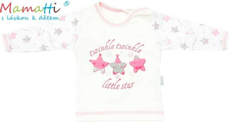 Tričko/košilka dlouhý rukáv Mamatti - STAR - smetanové/hvězdičky, Velikost: 86 (12-18m)