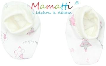 Botičky/ponožtičky BAVLNA Mamatti - STAR - smetanové/hvězdičky