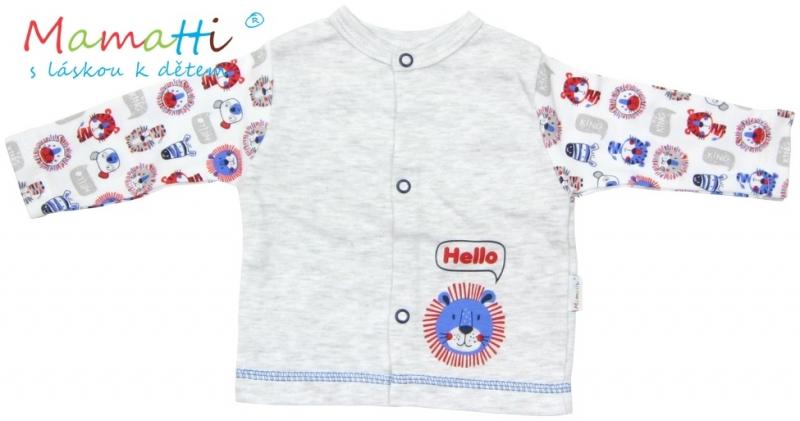 Bavlněná košilka Mamatti - LION - šedý melírek, Velikost: 80 (9-12m)