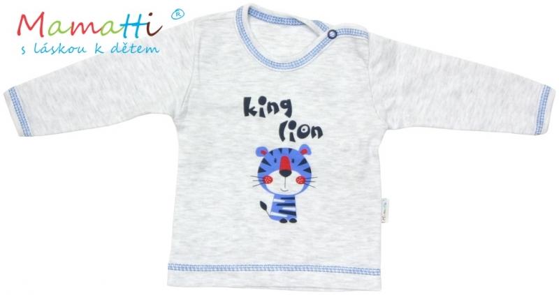 Tričko/košilka dlouhý rukáv Mamatti - LION -šedý melírek, Velikost: 98 (24-36m)