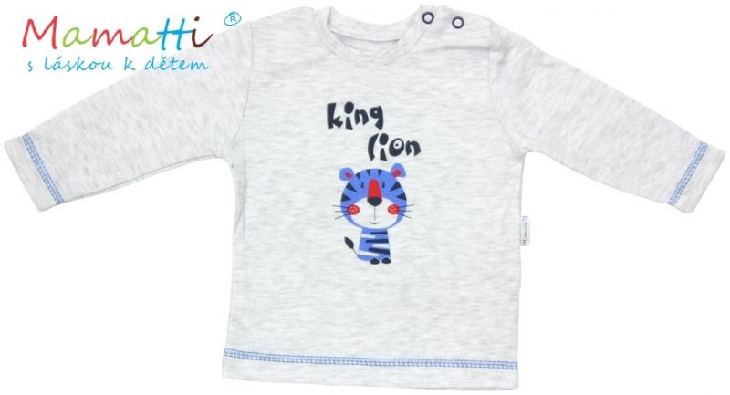Tričko dlouhý rukáv Mamatti - LION - šedý melírek, Velikost: 86 (12-18m)