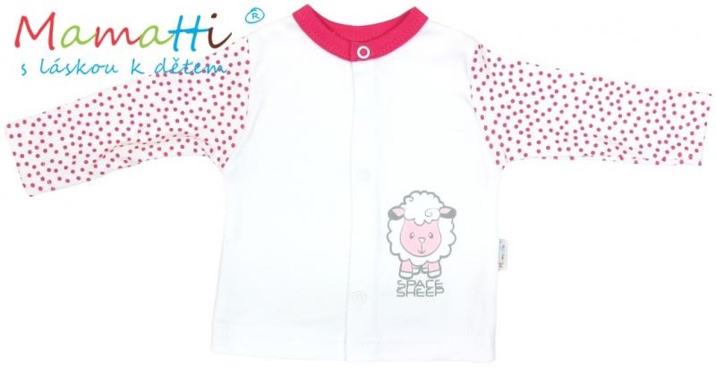 Bavlněná košilka Mamatti - SHEEP - bílá/červené puntíky, Velikost: 62 (2-3m)