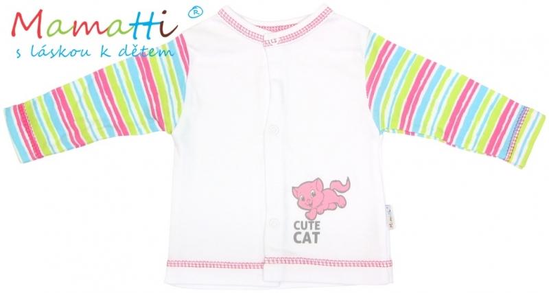Bavlněná košilka Mamatti - CAT- bílá/barevné proužky, Velikost: 80 (9-12m)