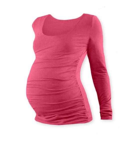 Těhotenské triko JOHANKA s dlouhým rukávem - lososově růžová