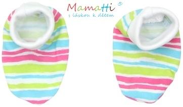 Botičky/ponožtičky BAVLNA Mamatti - CAT - barevné proužky