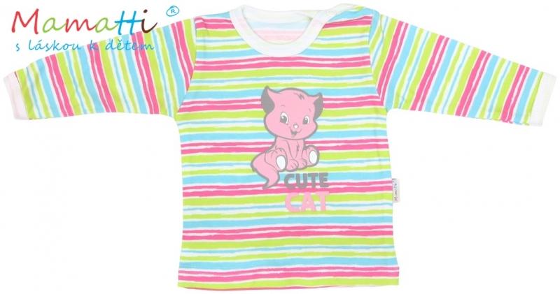 Tričko/košilka dlouhý rukáv Mamatti - CAT - barevné proužky, Velikost: 86 (12-18m)