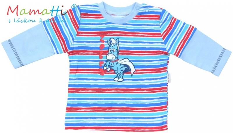 Tričko dlouhý rukáv Mamatti - ZEBRA  - sv. modré/barevné pružky, Velikost: 74 (6-9m)