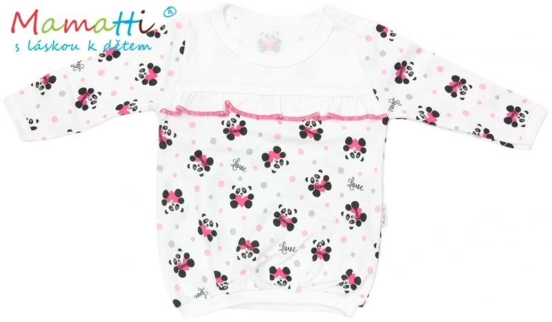 Halenka/tričko dlouhý rukáv Mamatti PANDA - bílá/potisk panda, Velikost: 92 (18-24m)