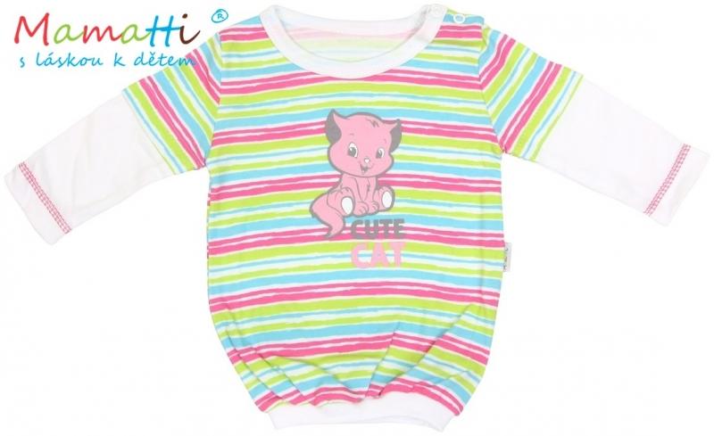 Halenka/tričko dlouhý rukáv Mamatti CAT - bílé/barevné proužky, Velikost: 86 (12-18m)