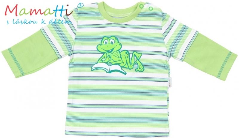 Tričko dlouhý rukáv Mamatti - FROG - zelené/ zelené proužky, Velikost: 74 (6-9m)