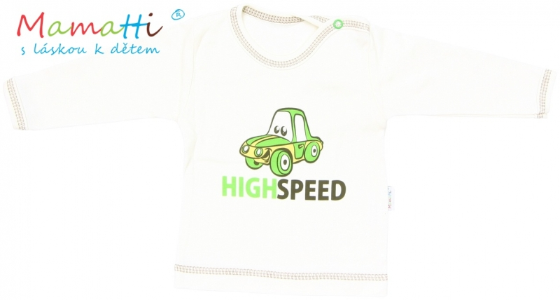 Tričko/košilka dlouhý rukáv Mamatti - CAR - krémové, Velikost: 68 (4-6m)