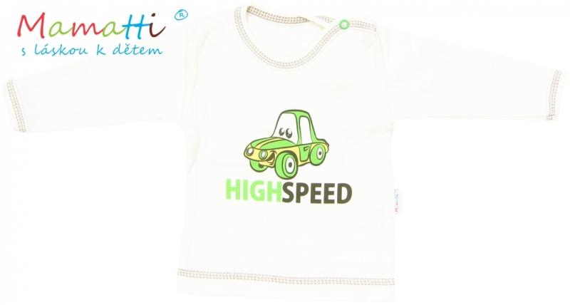Tričko/košilka dlouhý rukáv Mamatti - CAR - krémové, Velikost: 86 (12-18m)
