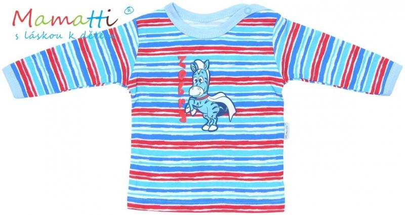 Tričko/košilka dlouhý rukáv Mamatti - ZEBRA  - sv. modrá/barevné pružky, Velikost: 80 (9-12m)