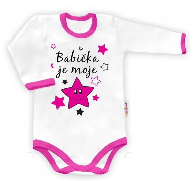 Baby Nellys Body dlouhý rukáv Babička je moje hvězda - bílé/růžový lem