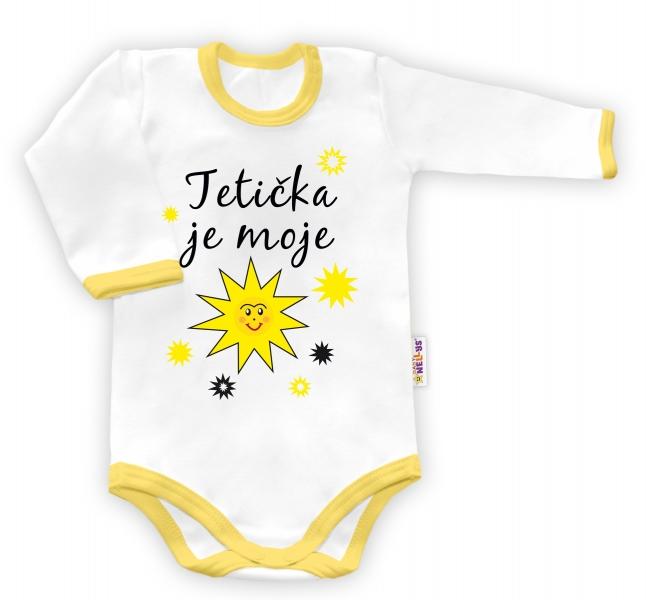 Baby Nellys Body dlouhý rukáv Tetička je moje sluníčko - bílé/žlutý lemvel. 48/52