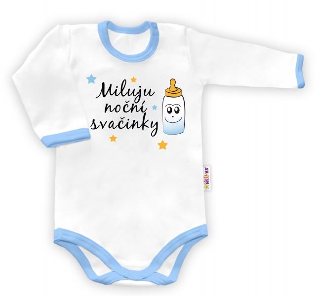 Baby Nellys Body dlouhý rukáv Miluju noční svačinky - bílé/modrý lem