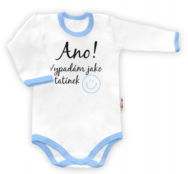 Baby Nellys Body dlouhý rukáv Ano, vypadám jak tatínek - bílé/modrý lemvel. 48/52