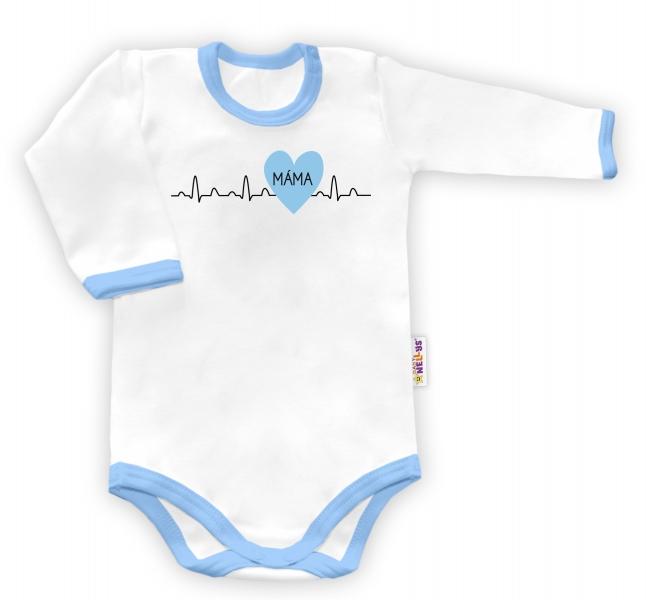 Baby Nellys Body dlouhý rukáv vel. 56, Máma v srdíčku - bílé/modrý lemvel. 56 (1-2m)