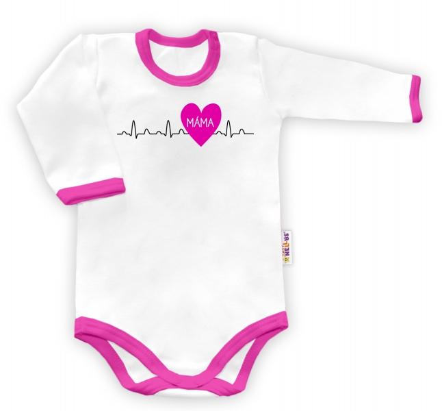 Baby Nellys Body dlouhý rukáv vel. 62, Máma v srdíčku - bílé/růžový lem