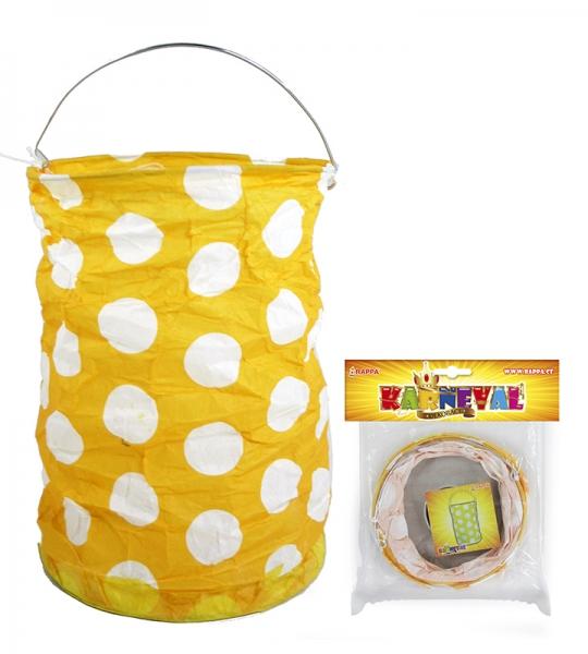 Lampion žlutý s tečkami krčený 15 cm