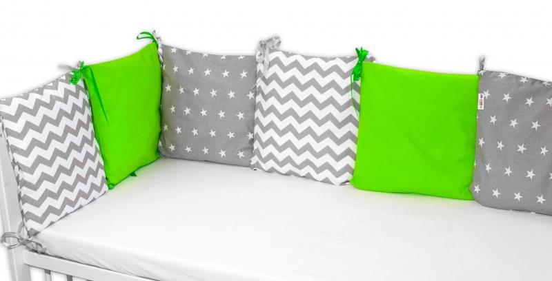 Polštářkový mantinel 6 kusů polštářku - 2x zelený, 2x hvězdičky, 2x zig-zag šedy