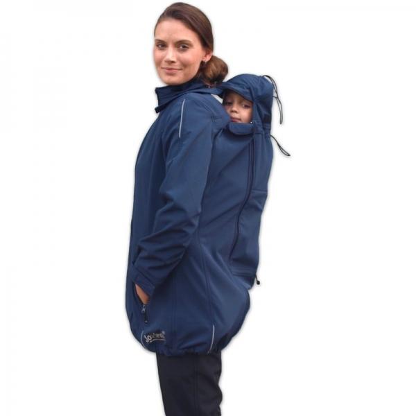 Bunda pro nosící, těhotné - softshellová - pro nošení dítěte v předu i vzadu - tm. modrá