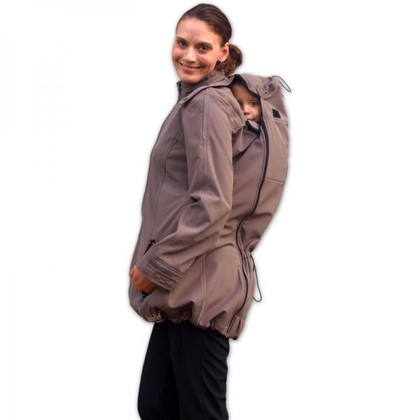 Bunda pro nosící, těhotné - softshellová - pro nošení dítěte v předu i vzadu - béžová