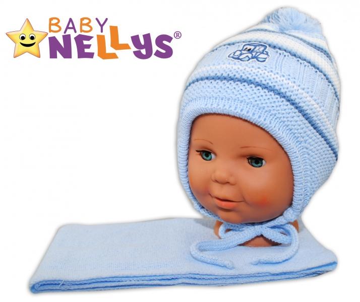 BABY NELLYS Zimní čepička s šálou - Autíčko - pruhy, sv. modré