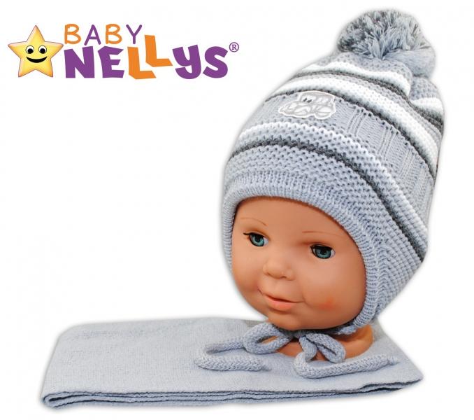 BABY NELLYS Zimní čepička s šálou - Autíčko - pruhy, sv. šedé