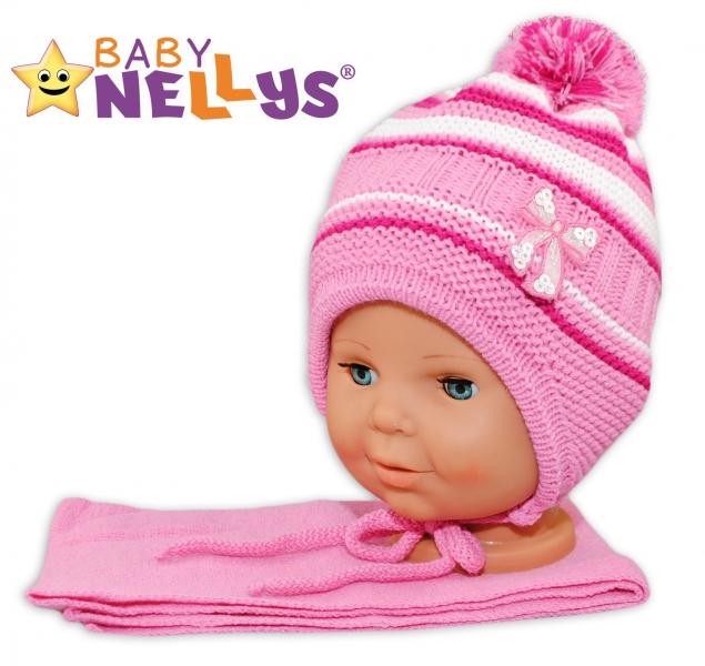 BABY NELLYS Zimní čepička s šálou - Mašlička - tm. růžová s pruhy