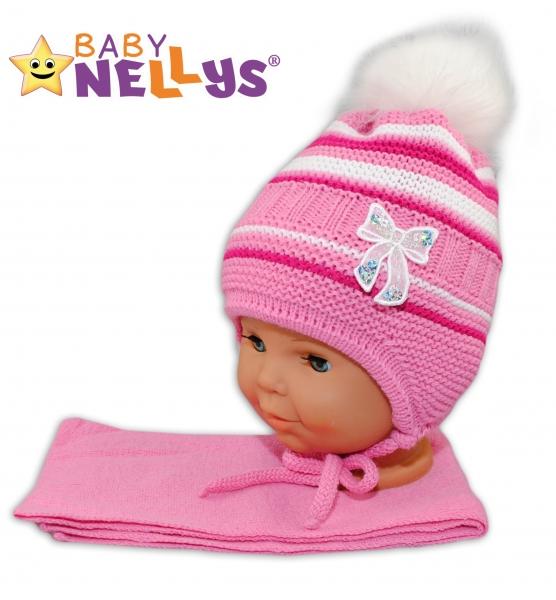 BABY NELLYS Zimní čepička s šálou - Mašlička - tm. růžová s pruhy, chlupáčková bambulka
